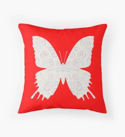 #DeepDream White Butterfly Throw Pillow