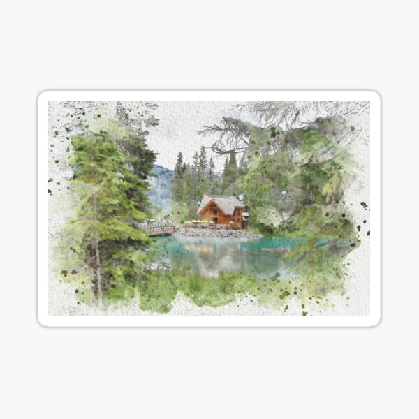Emerald Lake Lodge, Watercolor Sticker