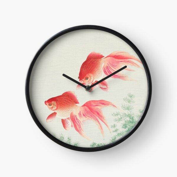 Gracieux Goldfish Two Voil Goldfish par Ohara Koson Horloge