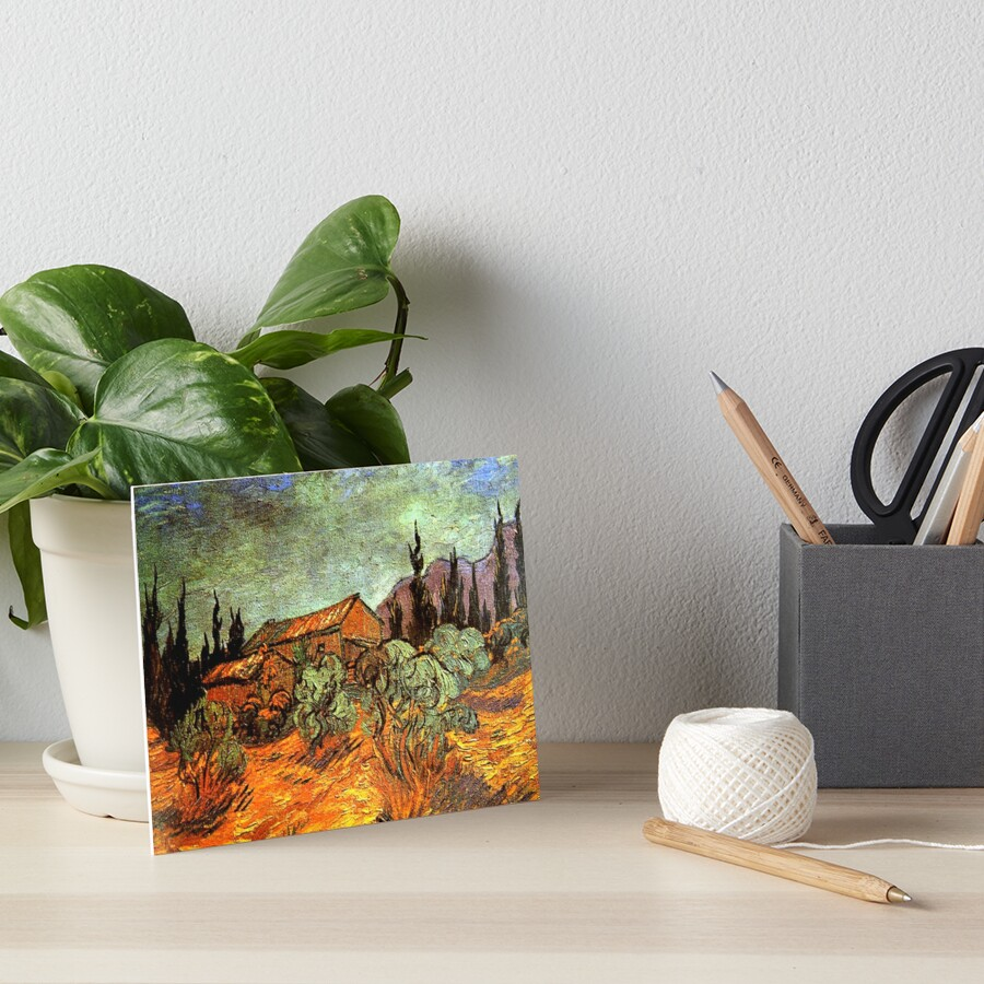 Van Gogh - Wooden Sheds, famous painting Art Board Print