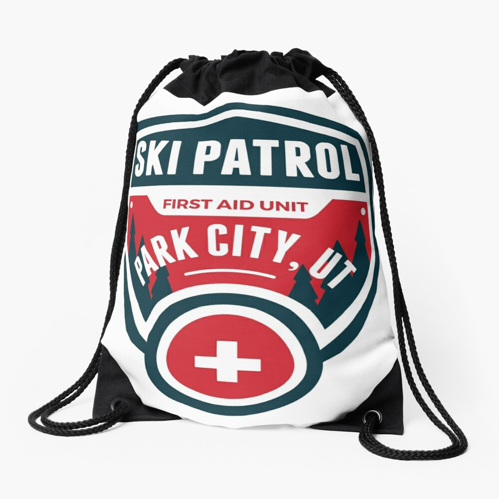 PARK CITY UTAH Skiing Ski Patrol Mountain Art Drawstring Bag
