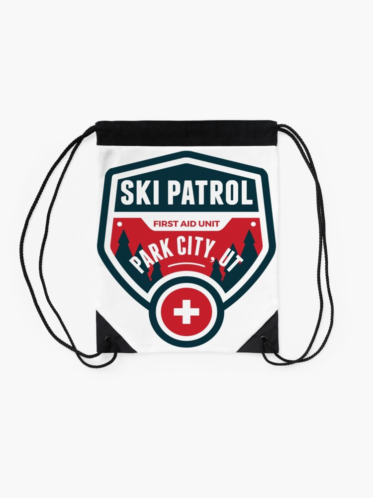 Alternate view of PARK CITY UTAH Skiing Ski Patrol Mountain Art Drawstring Bag