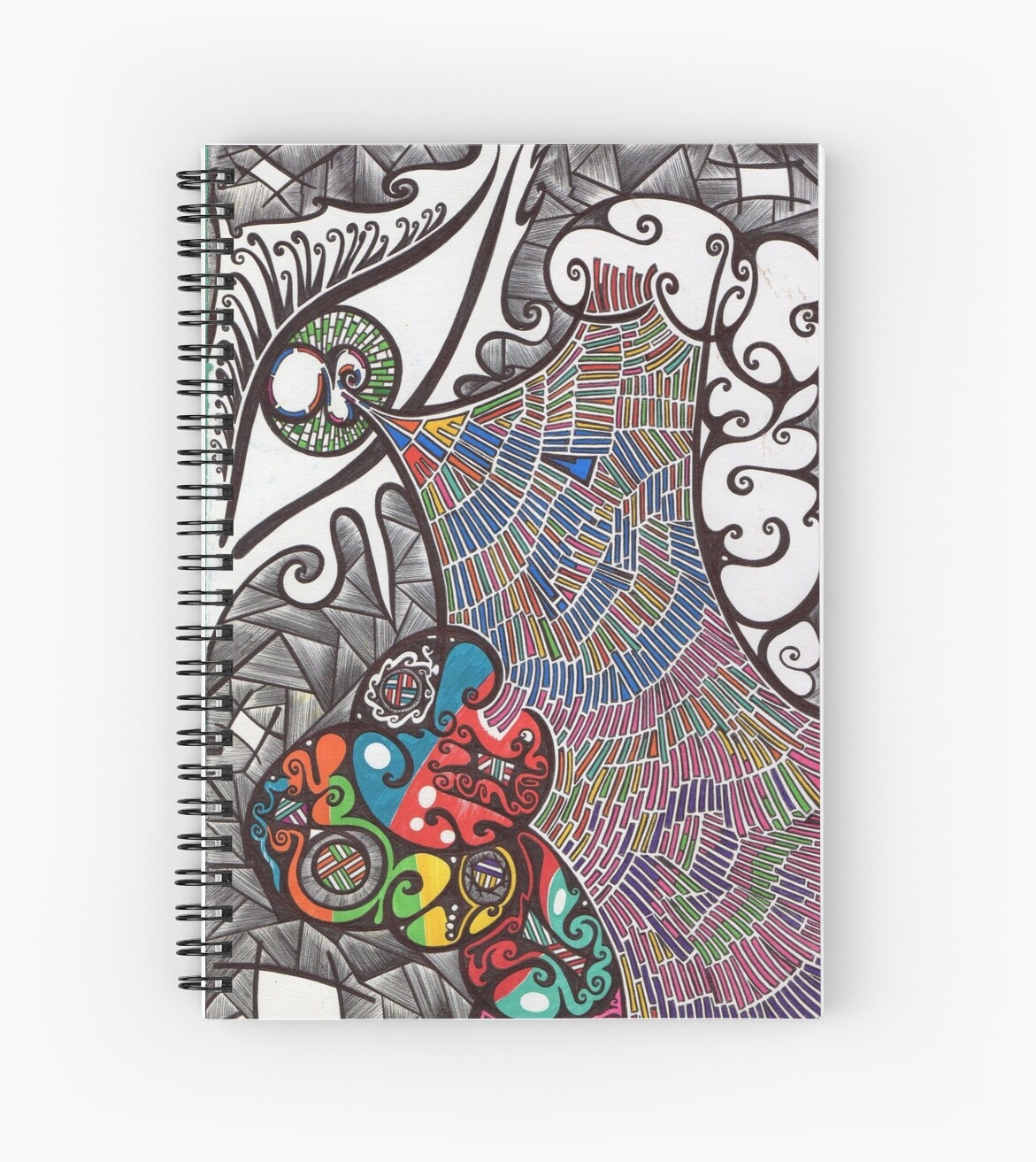Eye Abstract Art Drawing Crazy Mind Spiral Notebook By Nuitpipistrela