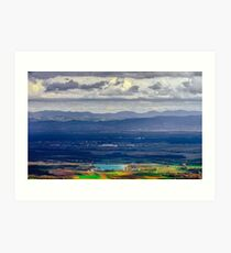 Panoramic overview to Alsace from abbey Mont Saint Odile. Spring colors. Art Print