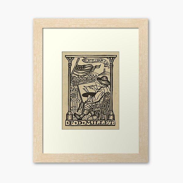 Francis D. Millet, bookplate, VINTAGE POSTER Framed Art Print