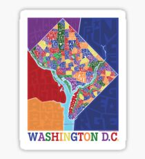 Washington DC Neighborhoods Map Sticker