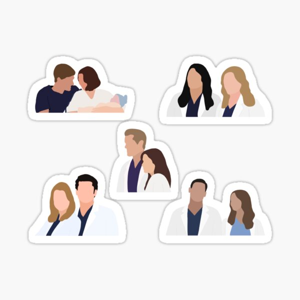 Iconic Greys Couples with MerDer, SLexie, AmeLink, CalZona, and JoLex Sticker