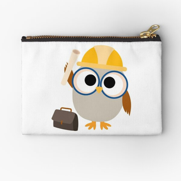 Professions Owl Construction Worker Zipper Pouch
