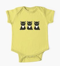 White Bibbed Black Cats Kids Clothes