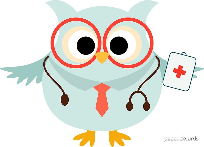 21389338 Medical Profession Owl Doctor on Spiral Border Clip Art