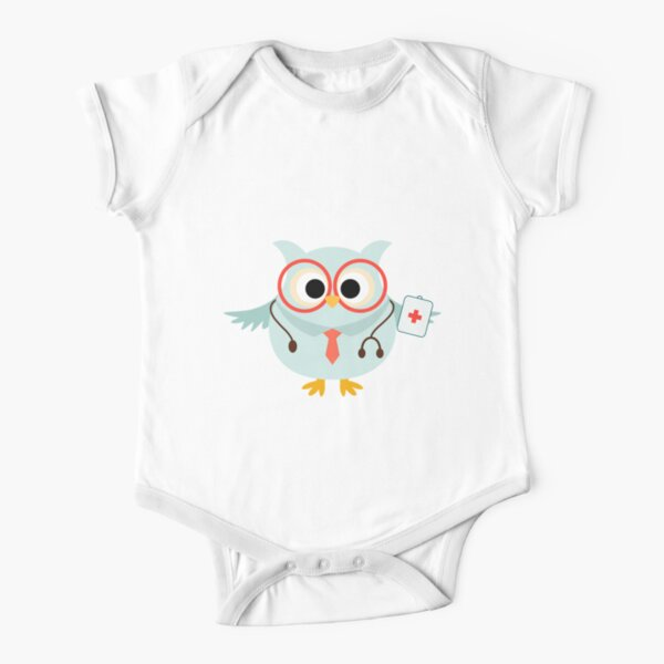 Medical Profession Owl Doctor Short Sleeve Baby One-Piece