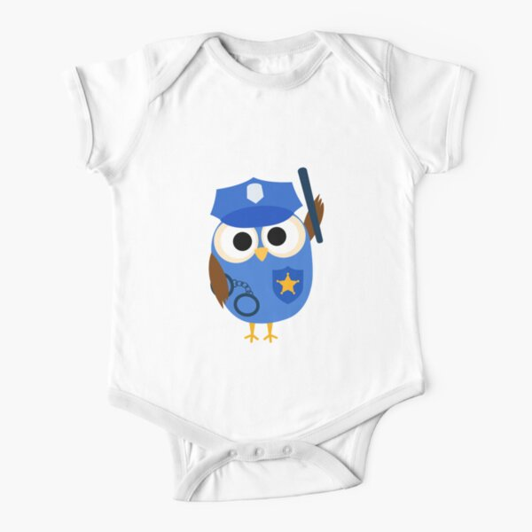 Professions Owl Police Officer Policeman Short Sleeve Baby One-Piece