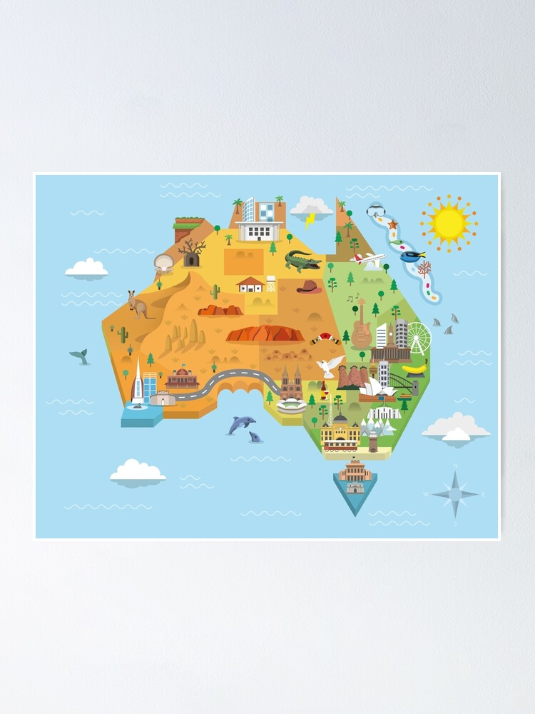 Alternate view of Graphic Map of Australia Poster