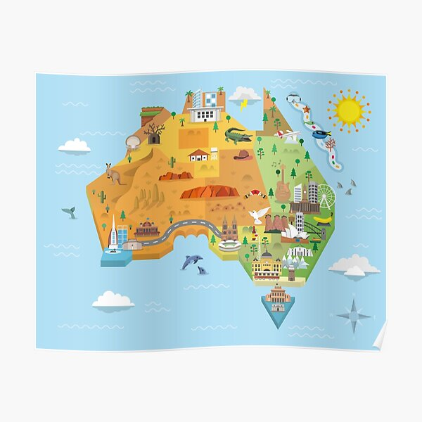 Graphic Map of Australia Poster