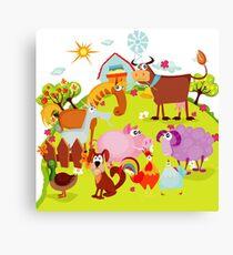 Farming Farm Animals Pig Cow Sheep Duck Canvas Print