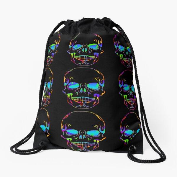 Colorful Skulls Drawstring Bag