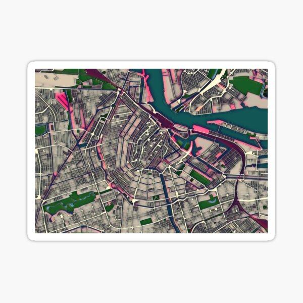 Amsterdam Pop Art City Map Sticker