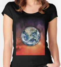 Planet Earth In Space Women's Fitted Scoop T-Shirt