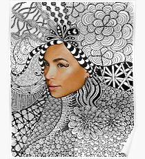 Tangled Women's Face Fashion Drawing Poster