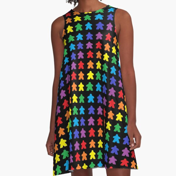 Meeple Rainbow Tabletop Pride A-Line Dress
