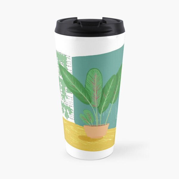 Portrait of Jim - Calathea plant in home corner Travel Mug