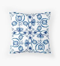 Delft Blue Tulips Throw Pillow