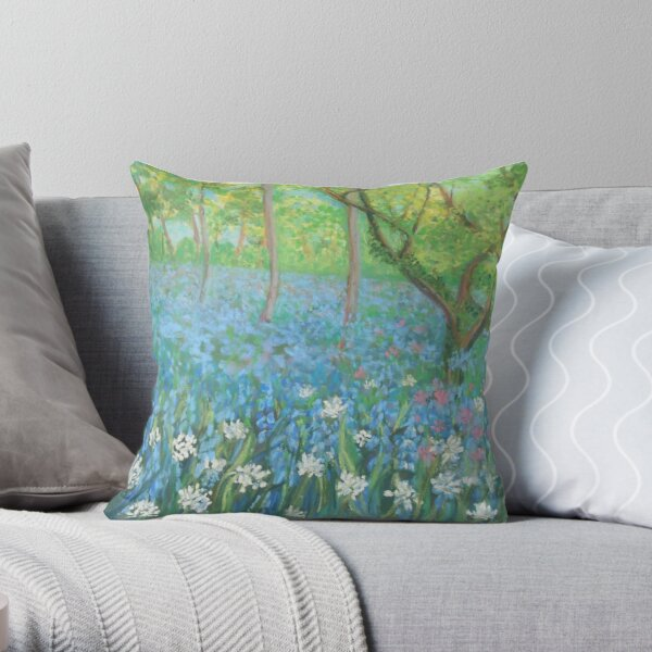 Bluebells at Hardcastle Crags Throw Pillow