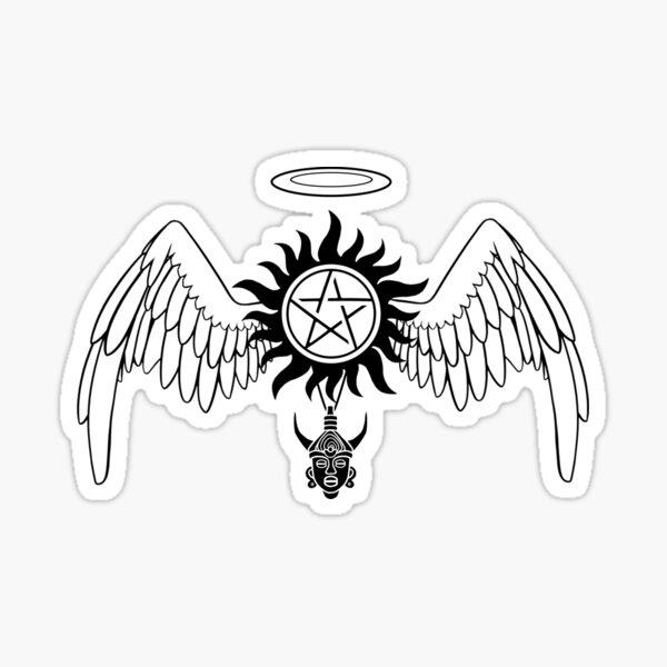 Destiel Logo (Black on White) Sticker