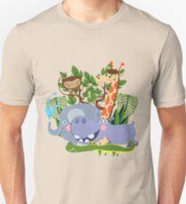 Kids Safari Animals Elephant Giraffe Hippo T-Shirt