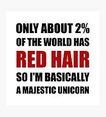 Red Hair Majestic Unicorn Photographic Print