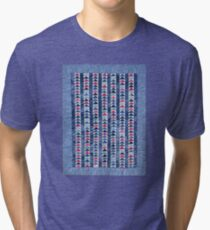 Flying Geese Quilt In Red, White And Blue Tri-blend T-Shirt