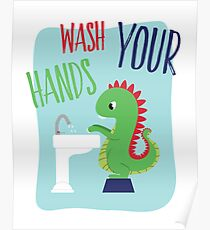 Wash Your Hands Cute Dinosaur Poster