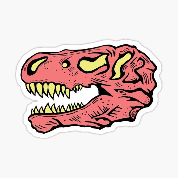Blush T-Rex Skull Sticker