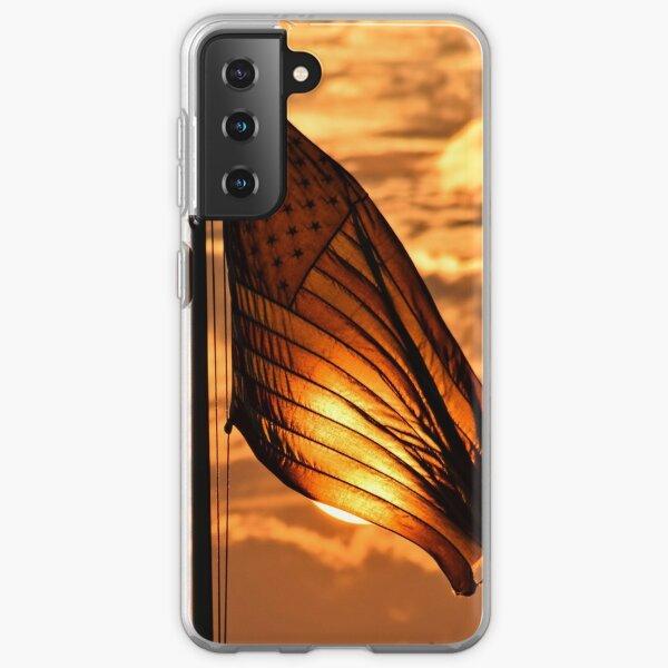 Sunset on Old Glory  -  USA Flag Samsung Galaxy Soft Case