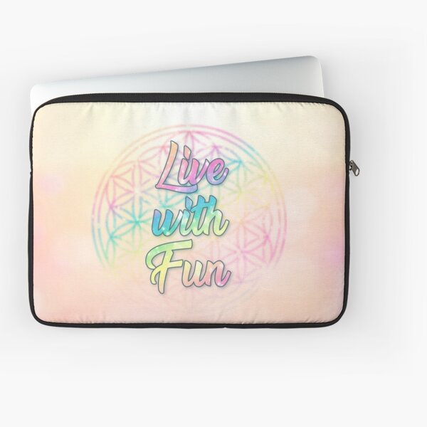 Live with Fun! Colorful Flower of Life Laptop Sleeve