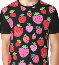 Strawberries on Black Graphic T-Shirt