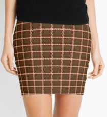 Burgundy & Brown Plaid Mini Skirt