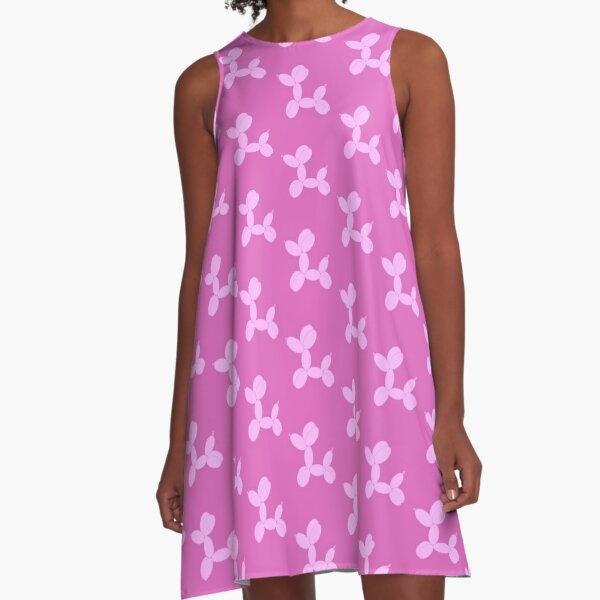 Light Pink Cartoon Balloon Dog A-Line Dress