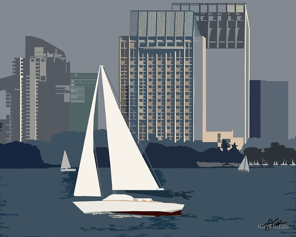 San Diego Bay Sailing by KirtTisdale
