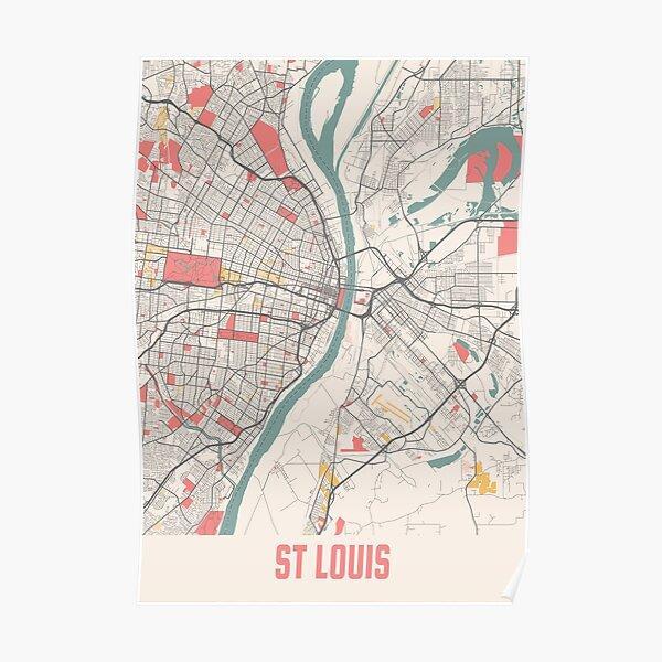 Chalk City Map Of St Louis Missouri State United States America USA Poster