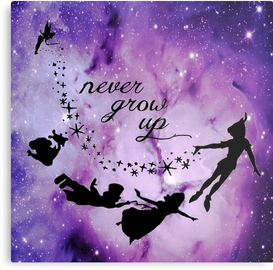 Never Grow Up Peter Pan Violet Nebula Metal Prints By Closeeyes