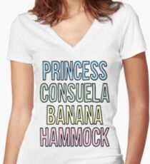 Princess Consuela Banana Hammock Women's Fitted V-Neck T-Shirt