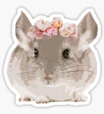 Flower Crown Chinchilla Sticker