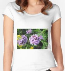Macro on purple flowers in the garden. Women's Fitted Scoop T-Shirt