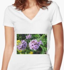 Macro on purple flowers in the garden. Women's Fitted V-Neck T-Shirt