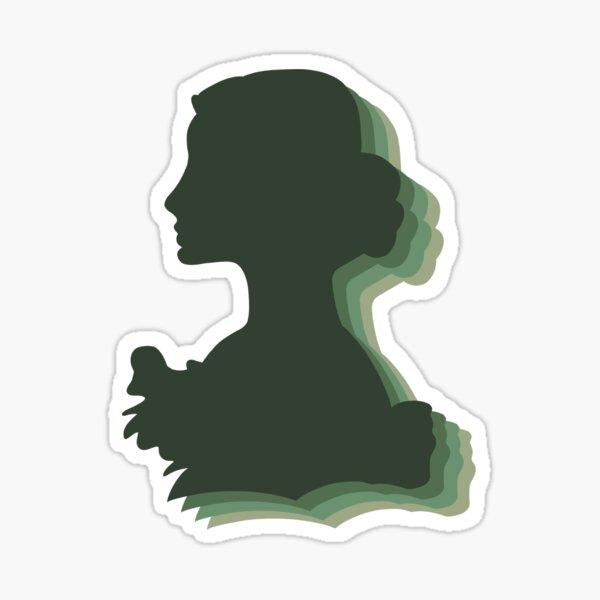 pop dark green cameo Sticker