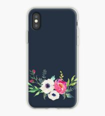 Anemone Peony Watercolor Bouquet iPhone Case