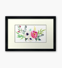 Anemone Peony Watercolor Bouquet Framed Print