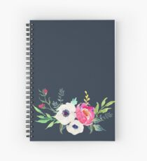 Anemone Peony Watercolor Bouquet Spiral Notebook