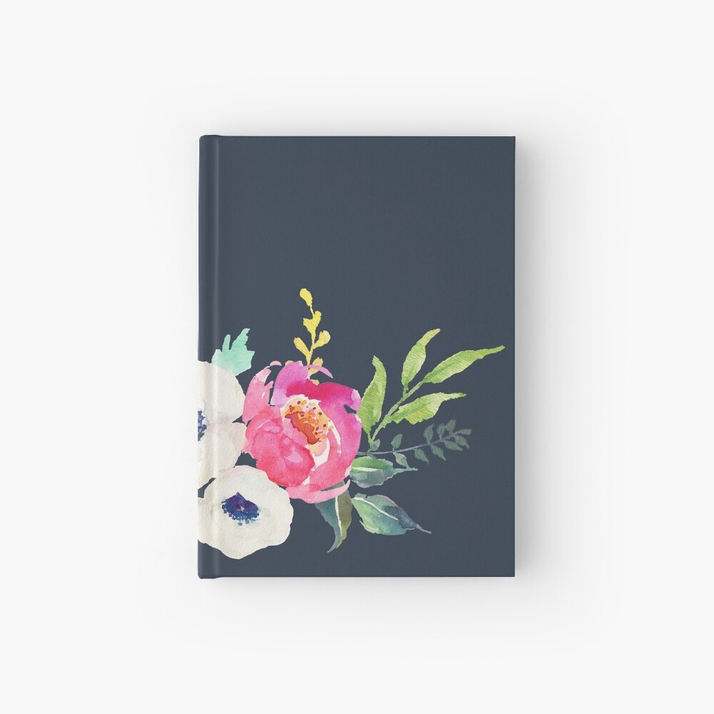 Anemone Peony Watercolor Bouquet Hardcover Journal